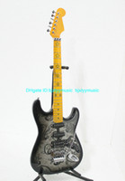 Wholesale Newest Black Flower St series Electric Guitar in black paisley Maple Fingerboard Hot Guitar From China