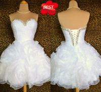 Wholesale 2012 Custom Made Lovely Ball Gown Sweetheart Beading Handmadeflower Short Organza Prom Dresses