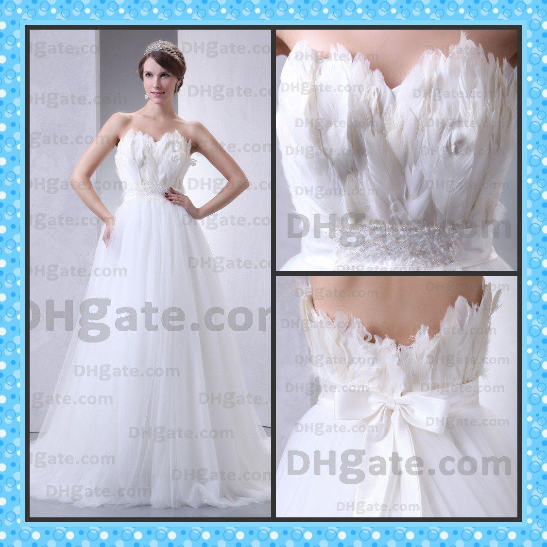wedding dresses feathers