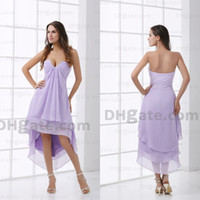 Wholesale Simple elegant ruched V neck lavender bridesmaid dresses short front long behind Prom dresses DM174