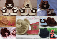 Wholesale 20 off HANDMADE baby Crochet shoes crochet hats cap beanies boots for babies toddler infants12set