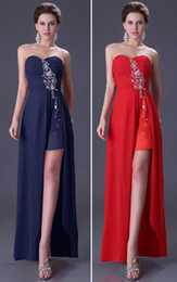 Wholesale Retail Freeshipping New Fashion Beading Slit Strapless Long Party Ball Prom Dress CL3443