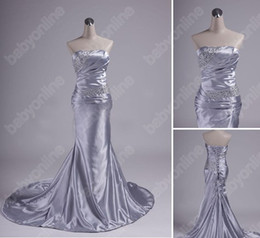 Wholesale In Stock Cheap Sexy Homecomming Dresses Silver Strapless Satin Mermaid Prom Dresses LFC035
