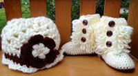 0-12 Months Crochet Hats Christmas 20% off *Crochet baby snow boots + hat sets.Cotton yarn boots caps set baby wear 0-24M.12set