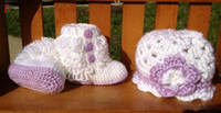 Wholesale 20 off Crochet baby snow boots amp hat sets Cotton yarn ugg boots caps set baby wear M set