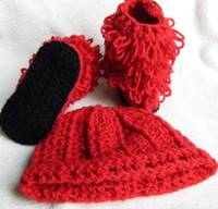 0-12 Months Crochet Hats Christmas 20% off *Crochet baby snow boots+hat sets Girl Christmas red suit cotton yarn boots baby wear