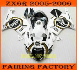 White Lucky strike fairings kit for 2005 2006 KAWASAKI Ninja ZX6R 05 06 ZX 6R aftermarket fairing