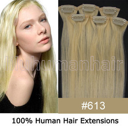 Wholesale 20 quot per set Remy Clip In Human Hair Extensions lightest blonde gram