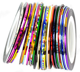 Wholesale hot Mixed Colors Rolls Striping Tape Line Nail Art Tips Decoration Sticker