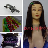 Wholesale Training Hairdressing Mannequin Head Support Clips HAND IMPLANTED quot can Wash Marecl Dye