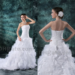 2019 A-line Beauty Organza Lace Up High Quality Bridal Gown Wedding Dresses With Lace Up Back WD049