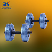 Wholesale blue color dumbbell set Water Poured Dumbbell have RoHS approved pairs