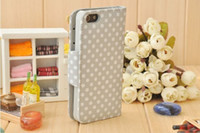 PU leather For Apple iPhone For Christmas For iphone 5 5g wallet card leather case,polka dots flip leather case with button for iphone5,10pcs