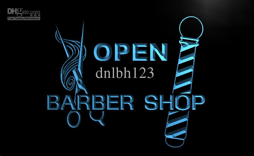 Barber Open Sunday : LB006-TM OPEN Barber Shop Pole Scissor Neon Light Signs. Advertising ...