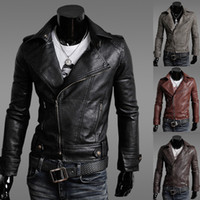 Wholesale Fashion CHIC NEW PU Leather Mens Motorcycle Biker Jackets Colors Sizes