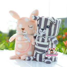 Wholesale Children Blanket Cartoon Animal Coral Fleece Baby Bankets Kids Gift Striped Bear Size cm
