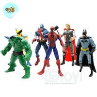 Wholesale set Avengers comic book hero marvel light toys Spider Man Hulk PVC cm