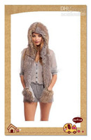 Wholesale Fluffy Faux Fur Animal Hood hat night owl Winter Hats With Scarf