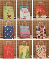 Wholesale Mixed Christmas gift bag colorized Present Packaging wrapping paper Sack Xmas Gift Bags