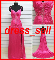 Wholesale Charming Evening Gown Dresses Stretch Satin Spaghetti Straps Beaded Sequin Ruffle Chapel Train Hot