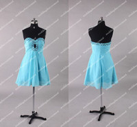 Wholesale Actual Images Light Blue Red Sheath Sweetheart Beads Sexy Chiffon Mini Cocktail Dresses Party Gown