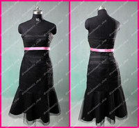 Wholesale New Arrival Custom Made Black Tulle And Satin Short Knee Length Pink Sash Cheap Bridesmaid Dresses