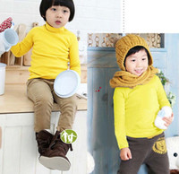 long sleeve yellow t-shirts - children yellow long sleeve bottoming t shirts cashmere high necked sweatshirts underwear tops F493