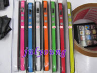 Wholesale TPU bumpers bumper frame Hard Plastic Metal Button case For iphone S G Iphone5 with retail package