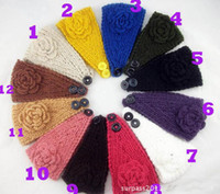 Wholesale Handmade knit winter Headband Flower Headwrap Earband Headwear Crochet Headbands Knitted Headwraps