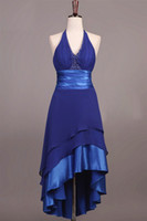 Wholesale Halter Royal Blue Bridesmaid Dresses New Arrived Open Back High Low Asymmetrical Sash Satin Ribbon