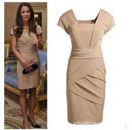 S-XL free shipping British Princess Kate same style slim women's dress (colors black+skin)#3018