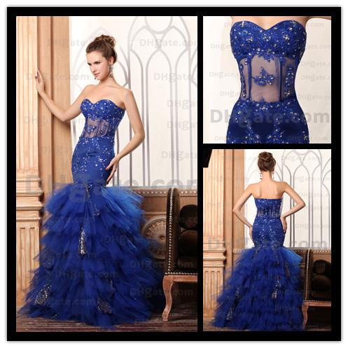 Gorgeous 2013 Royal Blue Prom Dresses Mermaid Ruched Tulle ...