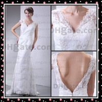 Actual Images V-Neck Lace 2012 Actual Images Lace Wedding Dresses Bridal Gowns Two Piece layers V Neck Stretch Satin Openback
