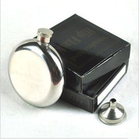 Wholesale 5 oc Mirror Smooth Men Portable Stainless Steel Portable Round Flagon Small Funnel Hip Flasks