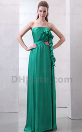 Wholesale IN STOCK SALE ruched one shoulder chiffon bridesmaid dress evening dress prom dress
