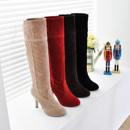 Ladies boots Autumn winter Fashion Sexy women boots scrub high boots high-heeled boots rough heel Knight boots