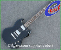Solid Body 6 Strings Mahogany black custom sg Mahogany body chrome hardware electric guitar Musical Instruments