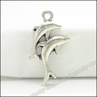 Jewelry Findings antique dolphins - Charms Antique Plated Silver Alloy Two Dolphin Pendant Fit Bracelet amp Necklace DIY Jewelry lo