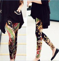 Wholesale 2014 Fashion Spring Autumn Winter Leggings For Women Tight Sexy Pants Trousers Retro Vintage Print