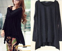 Wholesale Fashion Spring Autumn Black Knitwear Sweater For Women Long Sleeve Casual Tops Asymmetric Free Shipp