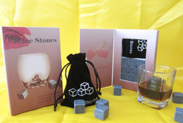 Free shipping whiskey stones 9pcs set in gift box, cooling whisky stone, wine rocks, bar accessories