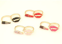 Wholesale New Coming Fashion Gold Plated Metal Enamel Lip Lipstick Double Fingers Ring colors mix