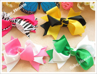 Hair Bows Lace Solid 16pcs 6 Color Satin Ribbon 4inch Butterfly Knot + Hair Bows Barrette Baby's Hair Accessory Headwear
