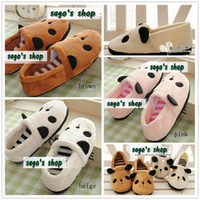 Wholesale Warm Slippers Worn in Home for Couple Short Plush Rubber Panda Head Striped Colors pairs