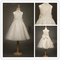 flower girl dresses - Cute Ivory Beads Bow Tulle Girl s Formal Occsion Dress Flower Girl Dress