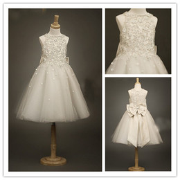 Wholesale Cute Ivory Beads Bow Tulle Girl s Formal Occsion Dress Flower Girl Dress