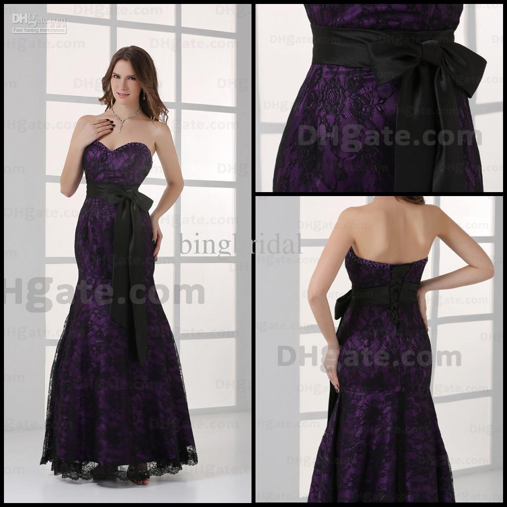 Elegant Purple Prom Dresses Sweetheart Mermaid Lace Black Sash ...