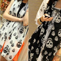Wholesale Fashion Chiffon Scarves Black White Large Scarf Skull Long Wide Scarf Shawl