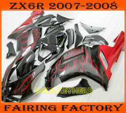 Red flame motorcycle ABS fairing for KAWASAKI Ninja ZX6R 07 08 ZX 6R 2007 2008 Custom race body kit
