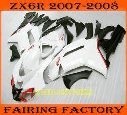 White blk moto aftermarket fairing for KAWASAKI Ninja ZX6R 07 08 ZX 6R 2007 2008 Custom race bodykit